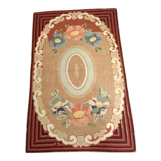 Early American Handmade Hooked Rug - 3′3″ × 4′ For Sale