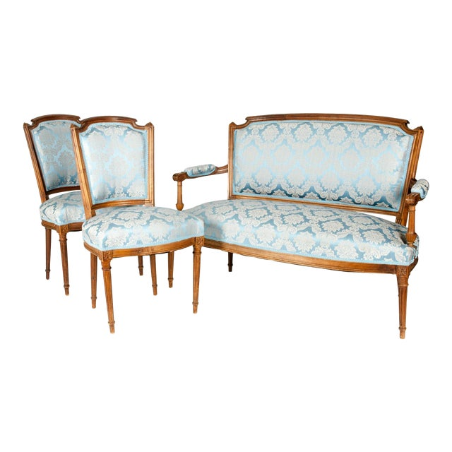 Antique French Settee With Chairs Seating Set - 3 Pc. Set For Sale
