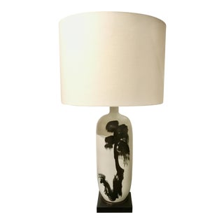 Currey & Co. Abstract Modern Baise Black and White Porcelain Table Lamp For Sale