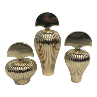 Set of Three Brass Perfume Bottles For Sale