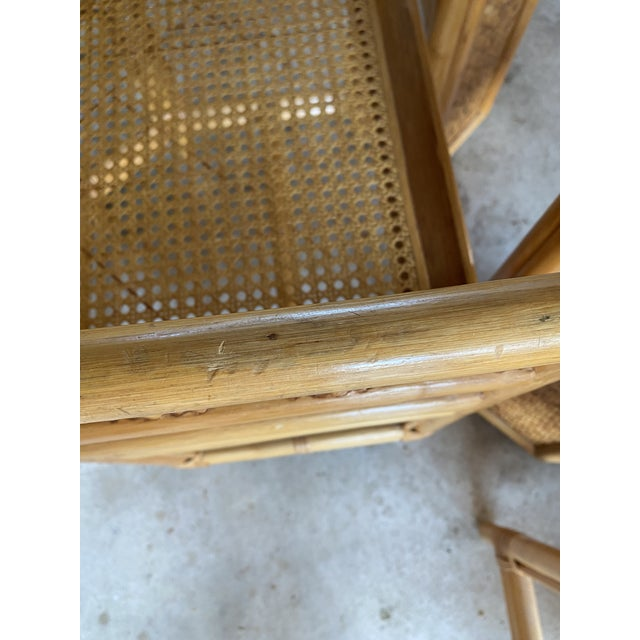 1970s Vintage Brighton Pavilion Style Bamboo and Wicker Weave Table Four Chairs For Sale - Image 5 of 13