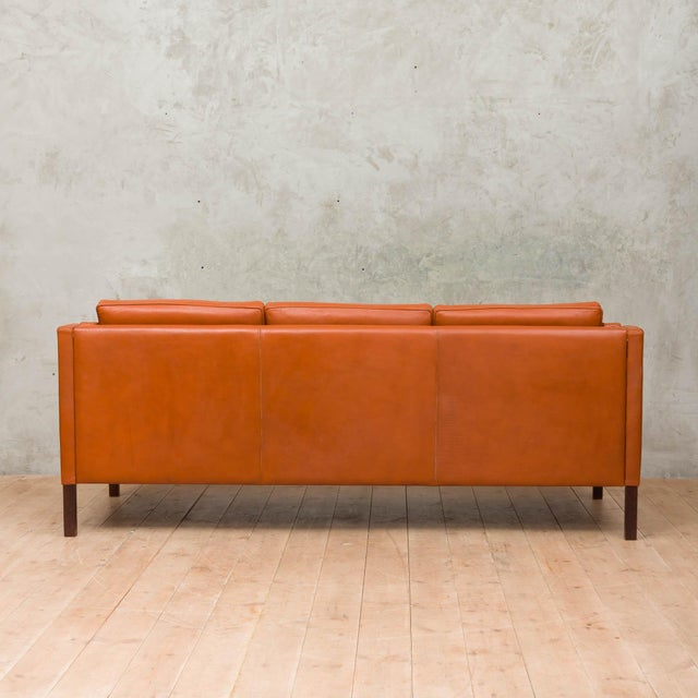 Stouby 1970s Vintage Stouby Cognac Leather 3 Seat Sofa For Sale - Image 4 of 12