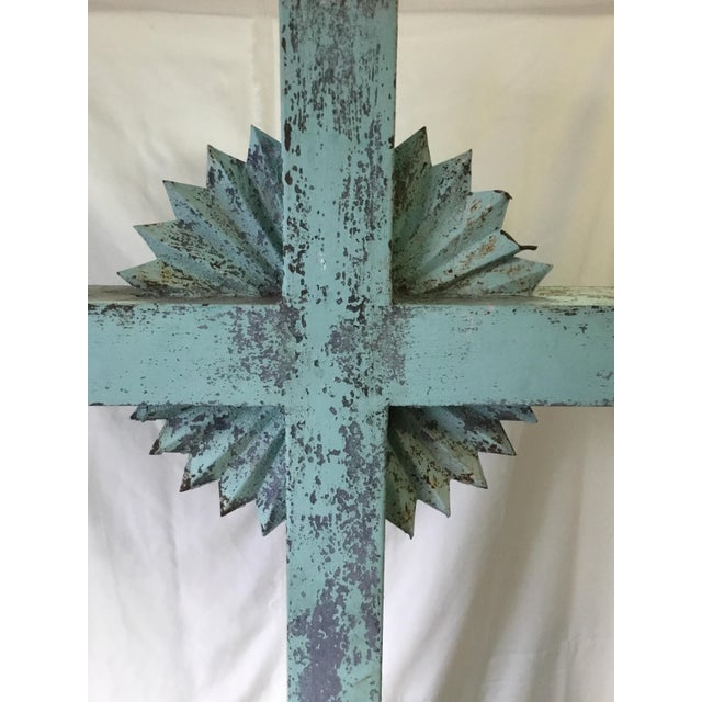 Metal 1930s Vintage Large Standing Metal Cross / Crucifix For Sale - Image 7 of 13