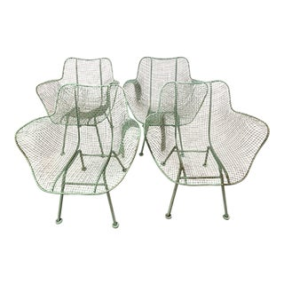 Woodard Sculptura Armchairs in Seafoam Green - Set of 4 For Sale