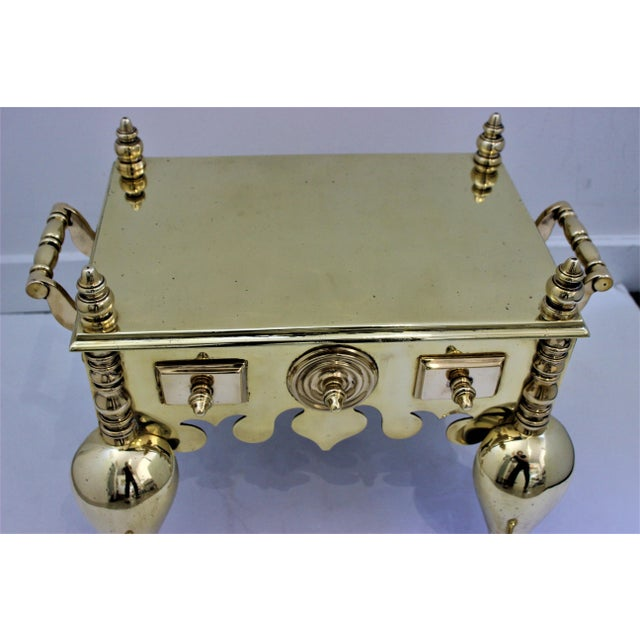 19c Fireplace Accesories - Brass Tea Kettle Heater With Its Log Tool For Sale - Image 11 of 13
