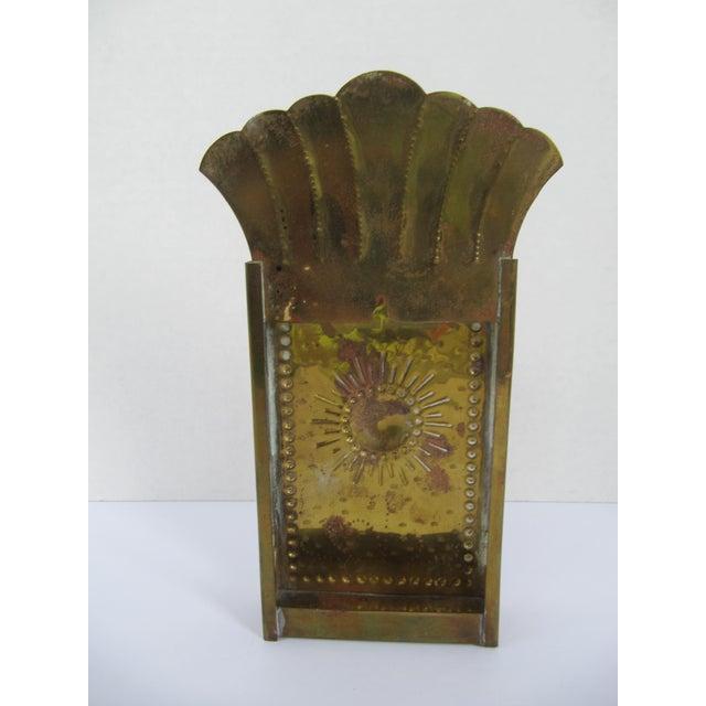Vintag Brass Starburst Match Stick Holder For Sale - Image 5 of 6