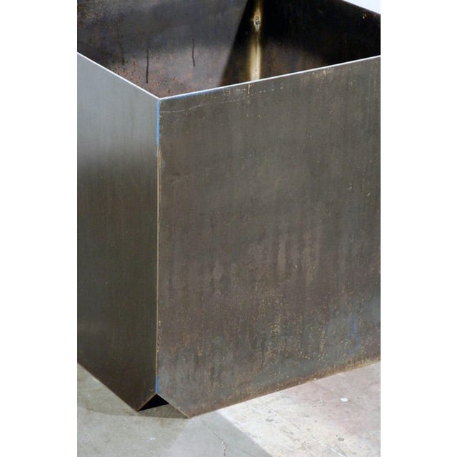 """Contemporary Large """"Cubiste"""" Patinated Steel Plate Planter For Sale In Los Angeles - Image 6 of 7"""