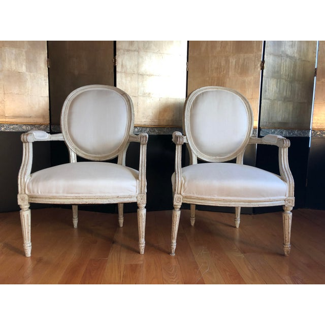 Antique French Louis XVI Fauteuil Arm Chairs - a Pair For Sale - Image 10 of 10