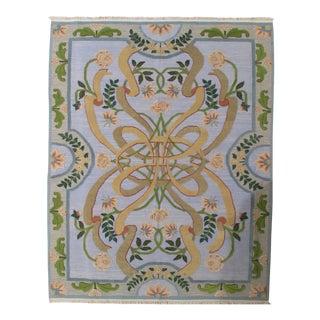 Soumak Design Hand Woven Wool Rug - 8' x 10' For Sale