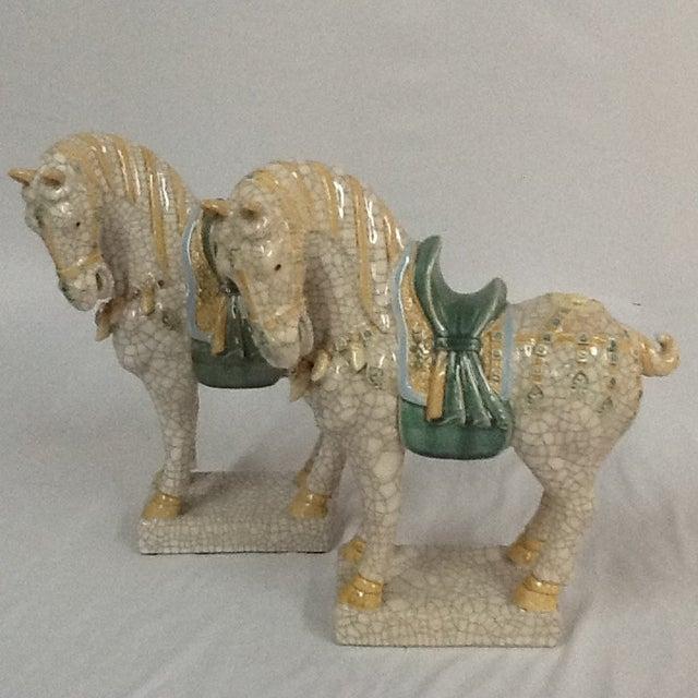 Italian Ceramic Crackle Horses - A Pair - Image 2 of 6