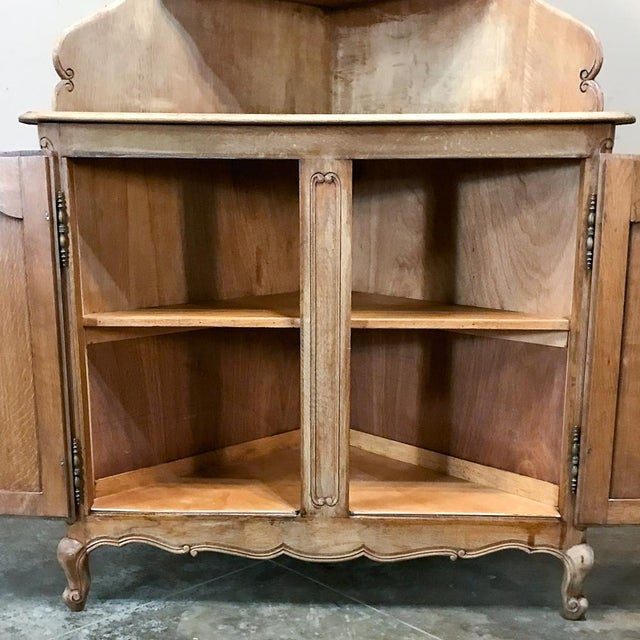 Brown Antique Country French Stripped Corner Cabinet For Sale - Image 8 of 13