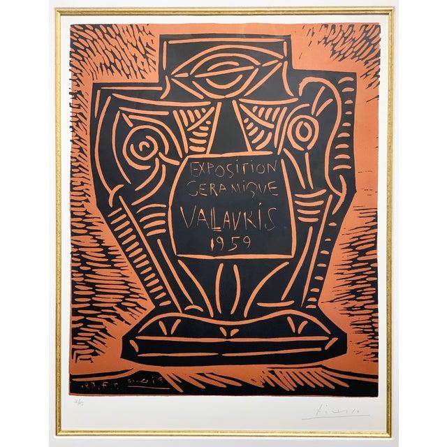"Cubism 1950s Vintage Pablo Picasso Original Linoleum Cut ""Exposition Ceramique Vallauris, 1959"" Signed Print For Sale - Image 3 of 10"