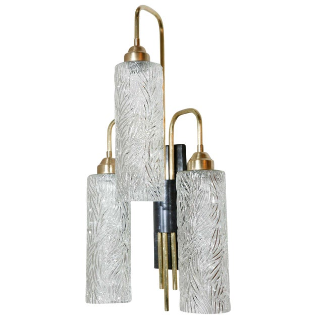 Vintage German Glass Brass Sconce For Sale