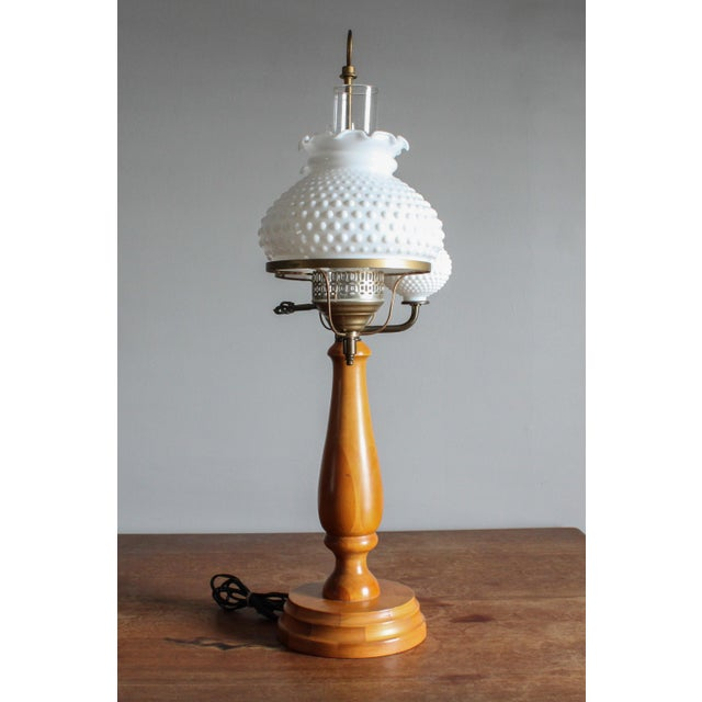 Art Deco 1950s Vintage Double Hobnail Milk Glass Student Lamp With Maple Wood Base For Sale - Image 3 of 11