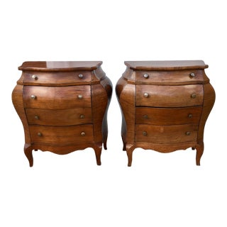 1950s Italian Walnut Bombe Chest-Form Accent Commodes - a Pair For Sale