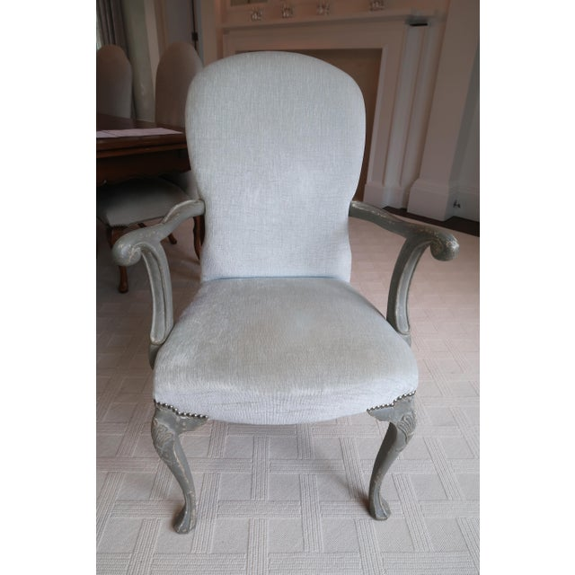 """Gorgeous Pair of Belgium Armchairs that have their original finish and reupholstered in Zimmer Rhode """"Sahara"""" fabric with..."""