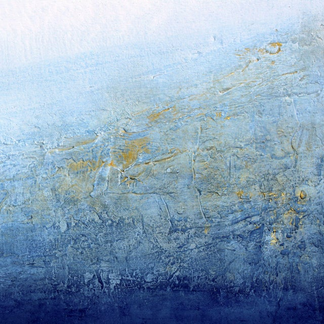 Blue & White Textured Modern Abstract Painting - Image 3 of 6