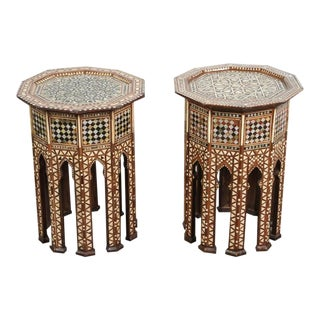 Pair of Syrian Octagonal Tables Inlaid with Mother-Of-Pearl For Sale
