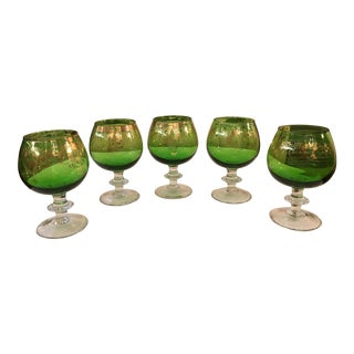 Mid-Century Modern Emerald Green Goblets - Set of 5 For Sale