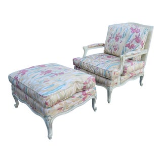 Louis XV Cream Painted Lounge Chair & Ottoman For Sale