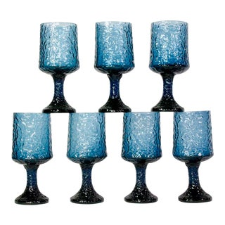 "Vintage Mid Century Lenox ""Impromptu"" Blue Wine Glasses or Goblets- Set of 7 For Sale"