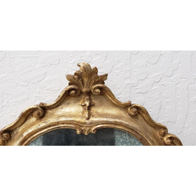 Gold Matching Pair of 19th Century Italian Hand Carved & Gilded Mirrors For Sale - Image 8 of 10