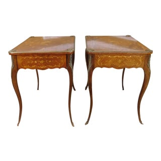 Pair French Inlaid Marquetry Walnut Brass Mounted Single Drawer Tables c1950s