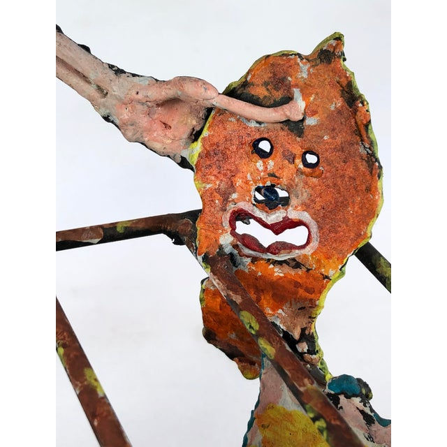 1980s Zaikine Folk Art Signed Metal Sculpture For Sale - Image 10 of 13