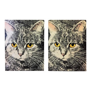 1960s Piero Fornasetti Cat Face Bookends - a Pair For Sale