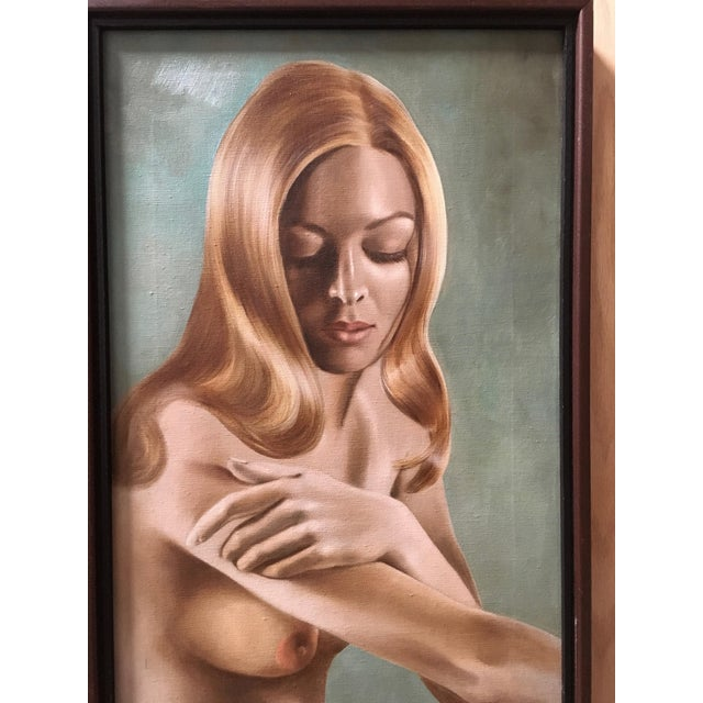Canvas Nude Oil Painting by Lynn Lupetti, 1970s For Sale - Image 7 of 8