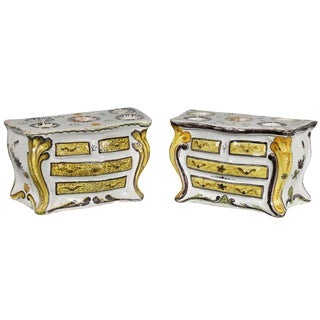 Pair of French Faience Bough Pots in the Form of Commodes For Sale