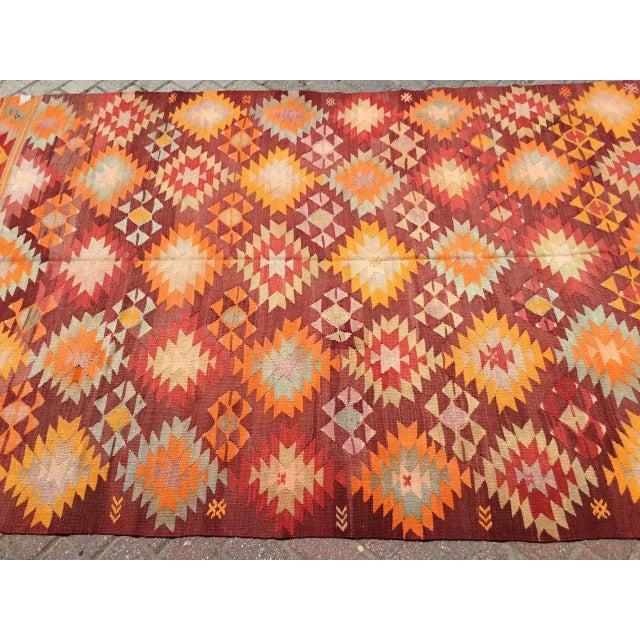 Rustic Burnt Orange Vintage Turkish Kilim Rug For Sale - Image 3 of 11