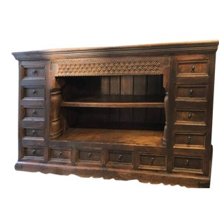 Vintage Rustic Carved Sideboard With Drawers For Sale