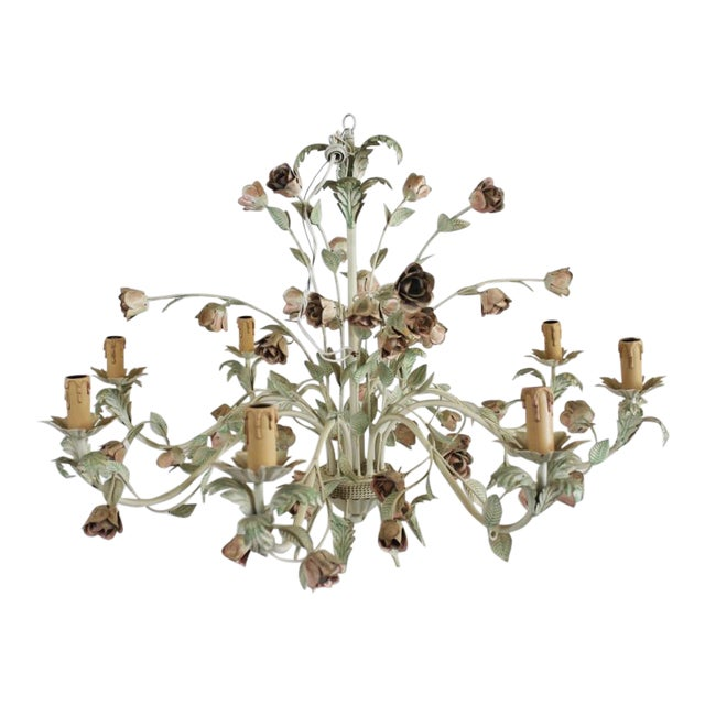 1940s Italian Toleware Chandelier For Sale
