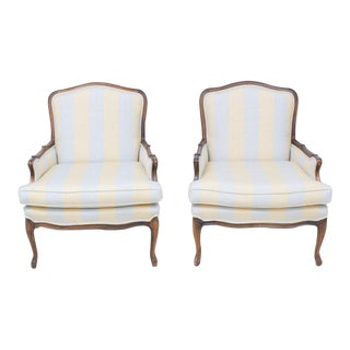 Vintage Louis XV Style Bergère Chairs- A Pair For Sale