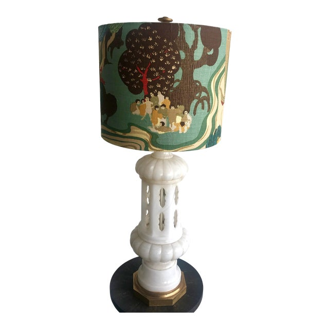 1950s Vintage Tall Alabaster Lamp With Carved Moroccan Design For Sale