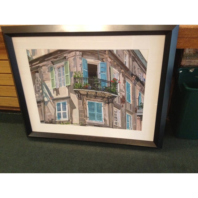 Offered is an original watercolor with the mat & frame with glass. Really nice, dark, mahogany wood frame. Produced by...
