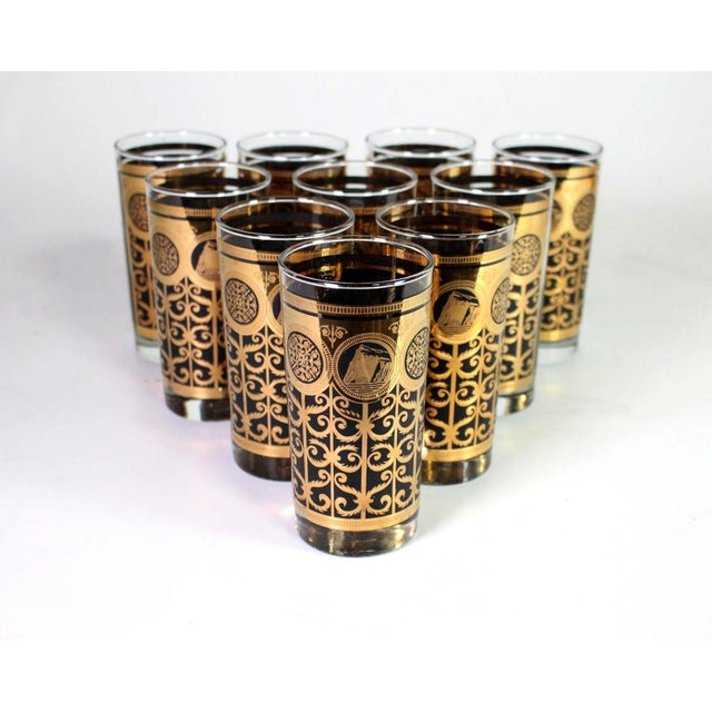 1960s 1960's Fred Press Mid-Century 22k Gold & Black Highball Martini Collins Glasses - Set of 10 For Sale - Image 5 of 5