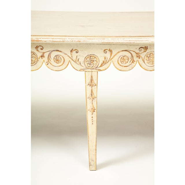 Ivory Colefax & Fowler Long Ivory-Painted Hall Bench For Sale - Image 8 of 10