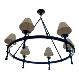 Visual Comfort E. F. Chapman Classic 6 Light Hand-Rubbed Antique Bronze Chandelier Ceiling Light For Sale