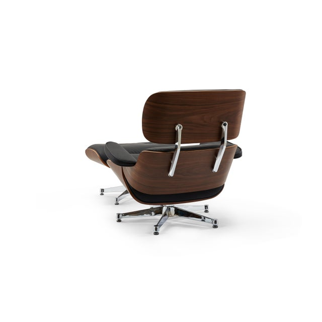 Pasargad's Florence Black Leather Lounge Chair & Ottoman For Sale - Image 4 of 10