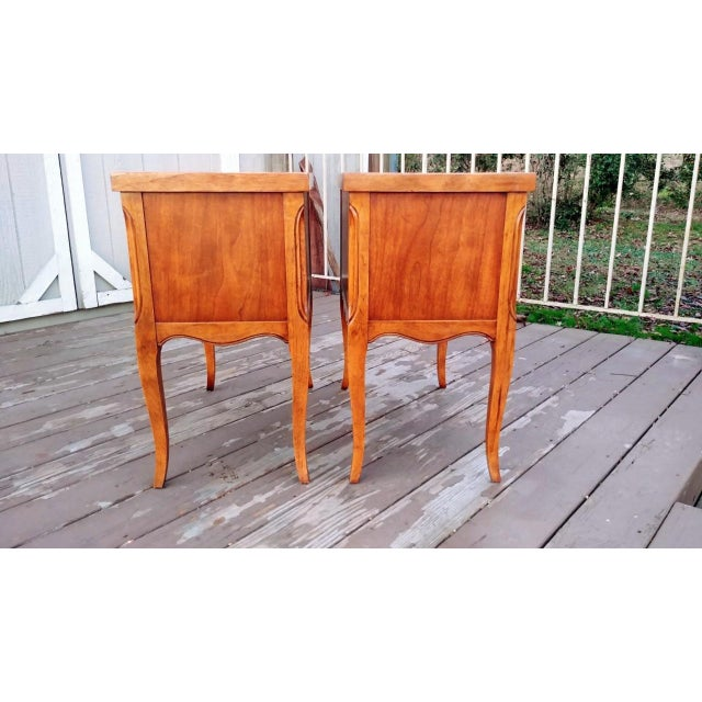 Metal 1980s French Walnut End Tables - a Pair For Sale - Image 7 of 13