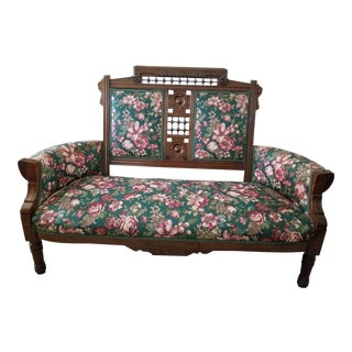 Late 19th Century Eastlake Upholstered Walnut Settee For Sale