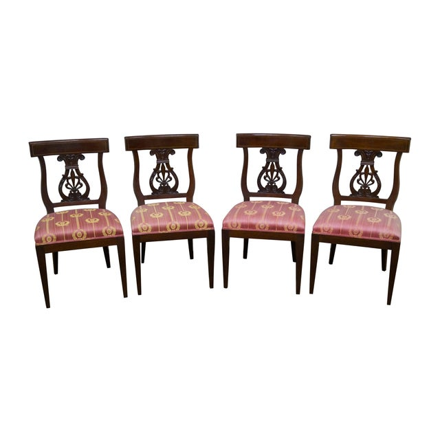 Kindel Neoclassical Mahogany Lyre Back Chairs - 4 - Image 1 of 9
