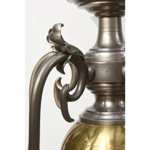 Brass Five Light Pewter and Brass Colonial Revival Chandelier For Sale - Image 7 of 12