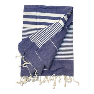Turkish Tamam Denim Blue Jaunty Stripes Handwoven Cotton Towel For Sale