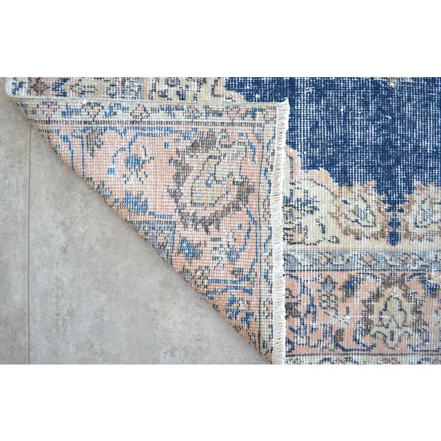 Turkish Distressed Area Rug Hand Knotted Faded Oushak Rug - 3'7'' X 6'7'' For Sale - Image 10 of 11