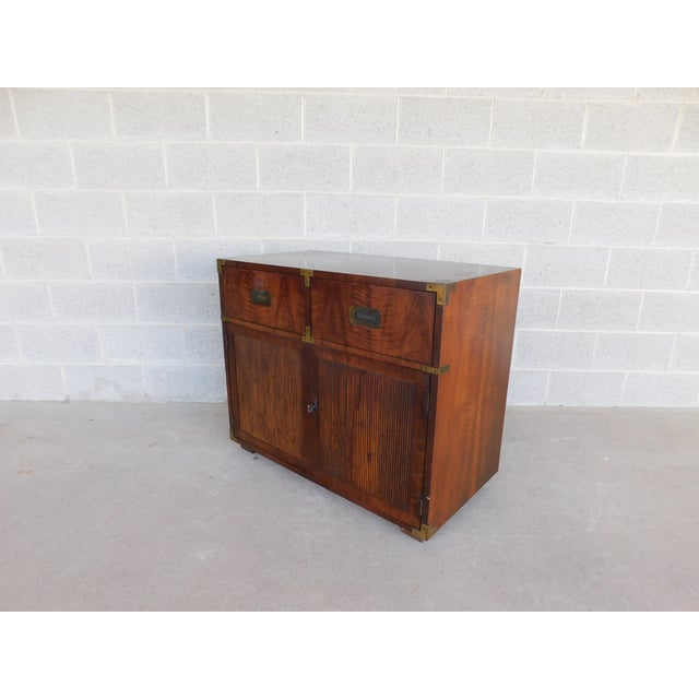 """Henredon Campaign Style 2 Drawer 2 Door Chest 30""""h X 36""""w For Sale - Image 10 of 10"""