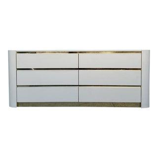 1980's Mid-Century Modern White and Brass 6 Drawer Dresser For Sale