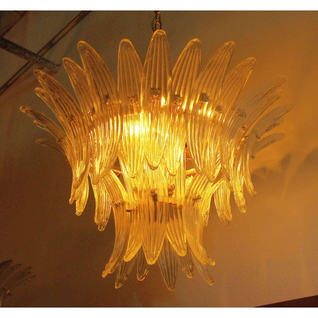 Italian Palmette chandeliers with clear Murano glass leaves mounted on 24-karat gold plated metal frames / Made in Italy 6...